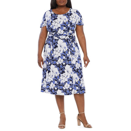 1940s Fashion Advice for Tall Women Perceptions-Plus Short Sleeve Floral Puff Print Fit  Flare Dress 3x  Purple $51.75 AT vintagedancer.com