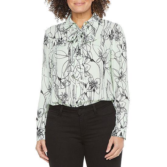 Worthington Womens Collar Neck Long Sleeve Blouse - Tall