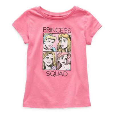 Disney Little & Big Girls Crew Neck Disney Princess Short Sleeve Graphic T-Shirt