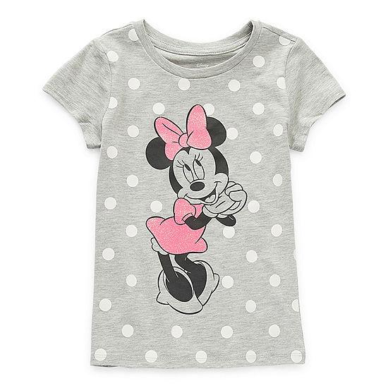 Disney Little & Big Girls Crew Neck Minnie Mouse Short Sleeve Graphic T-Shirt