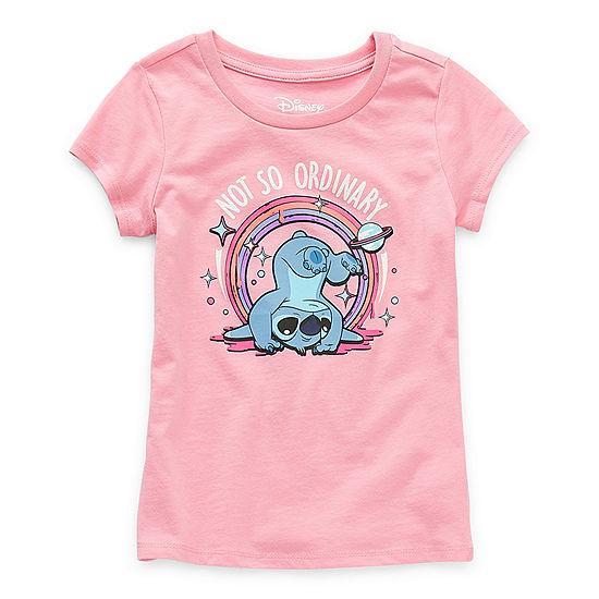 Disney Little & Big Girls Crew Neck Short Sleeve Graphic T-Shirt