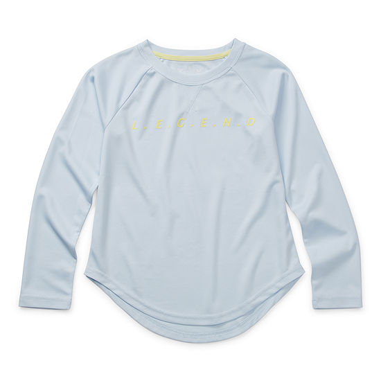 Xersion Everair Scoop Hem Little & Big Girls Round Neck Long Sleeve Graphic T-Shirt