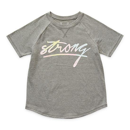Xersion Little & Big Girls Round Neck Short Sleeve Graphic T-Shirt
