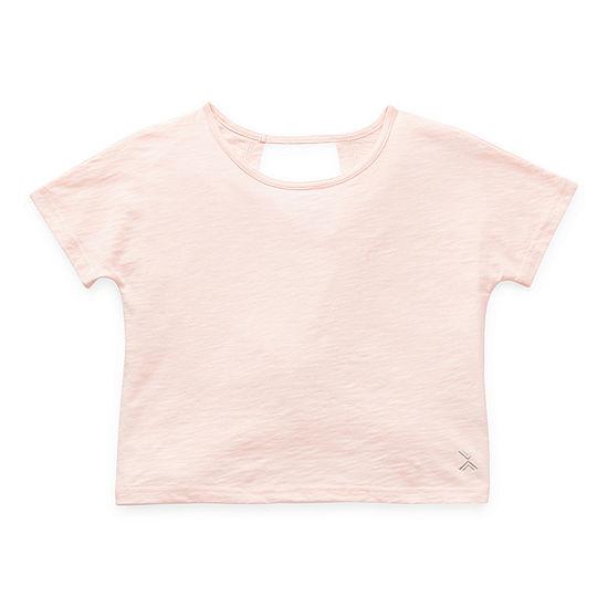 Xersion Twist Back Little & Big Girls Round Neck Short Sleeve T-Shirt