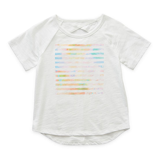 Xersion Open Back Little & Big Girls Round Neck Short Sleeve Graphic T-Shirt