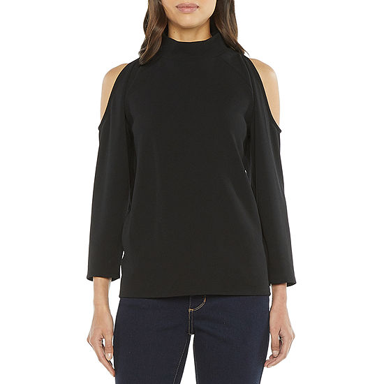 Worthington Womens Mock Neck 3/4 Sleeve T-Shirt