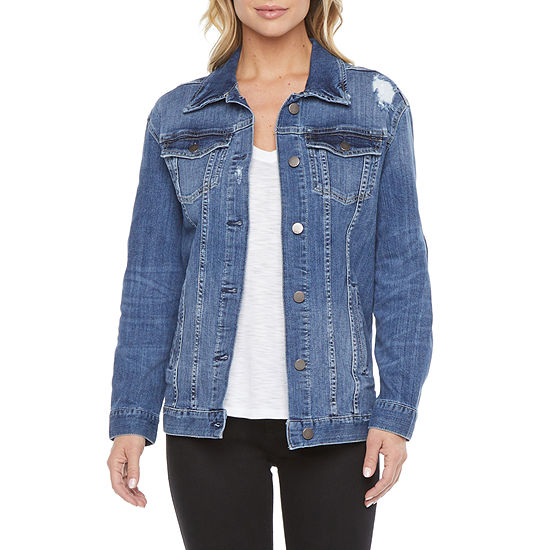 a.n.a. Womens Oversized Trucker Denim Jacket