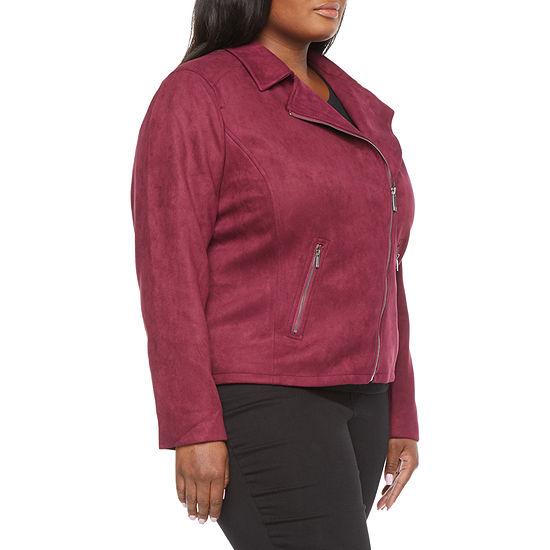 Liz Claiborne Womens Suede Moto Jacket - Plus