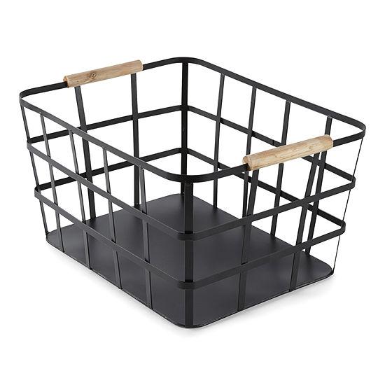 Enchante Large Black Metal Storage Bin