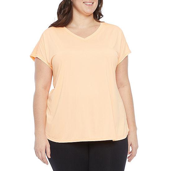 Xersion Womens Plus V Neck Short Sleeve T-Shirt