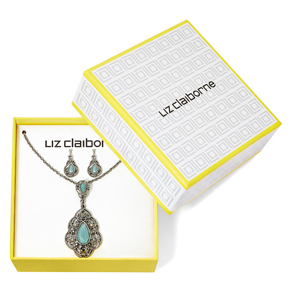 Liz Claiborne® Blue Silver-Tone Pendant Necklace and Earring Set