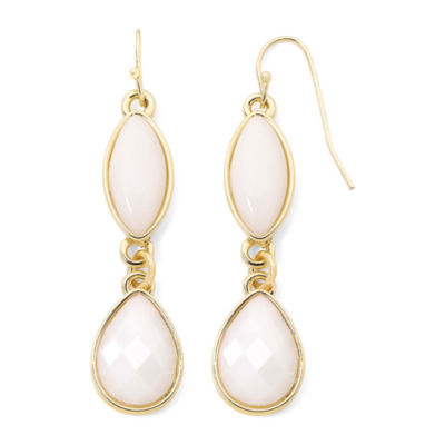Liz Claiborne® White Stone Gold-Tone Double-Drop Earrings