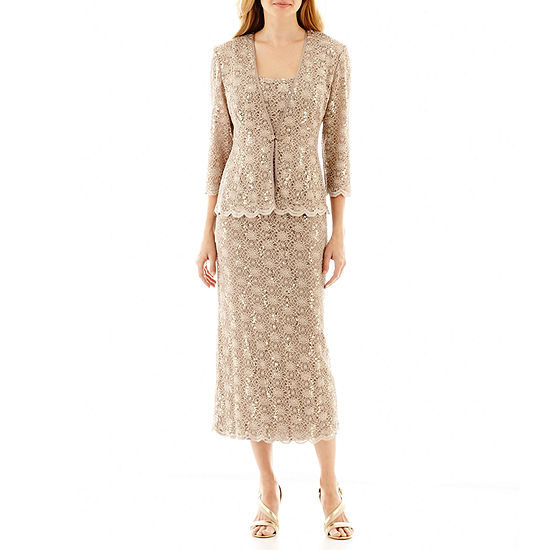 R&M Collection 3/4 Sleeve Sequin Lace Jacket Dress