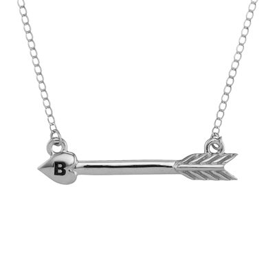Personalized Sterling Silver Initial Arrow Necklace