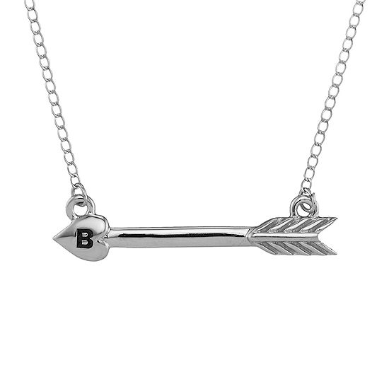 Personalized 10K White Gold Initial Arrow Necklace