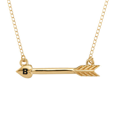 Personalized 14K Yellow Gold Initial Arrow Necklace