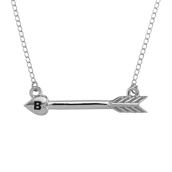 Personalized 14k White Gold Initial Arrow Necklace