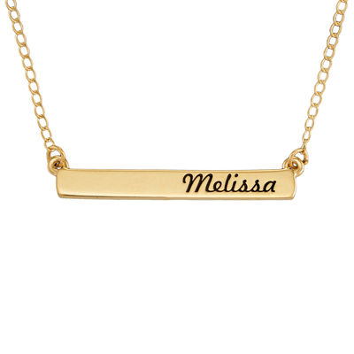 Personalized 10K Yellow Gold Engraved Name Bar Necklace