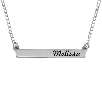 Personalized 10K White Gold Engraved Name Bar Necklace