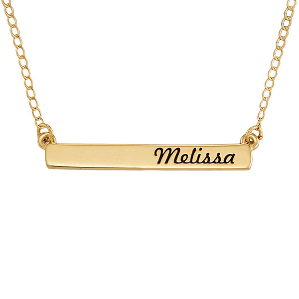 14k yellow gold bar pendant personalized 14k yellow gold engraved name bar necklace mozeypictures Images