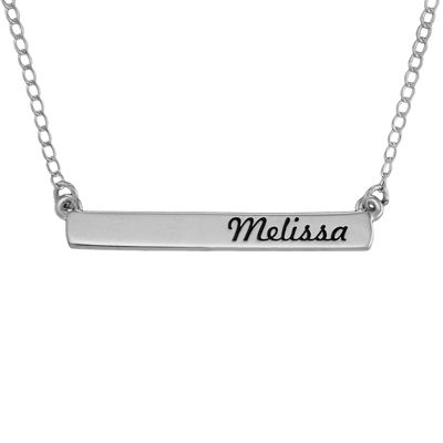 Personalized 14K White Gold Engraved Name Bar Necklace