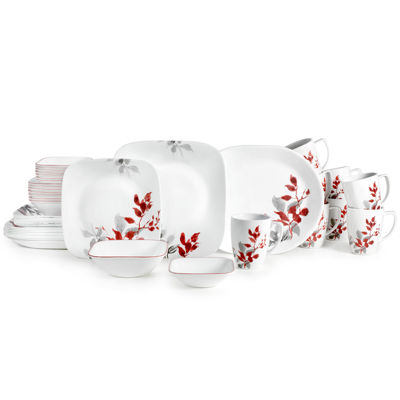 Corelle® Boutique™ Kyoto Leaves 42-pc. Square Dinnerware Set - Service for 8