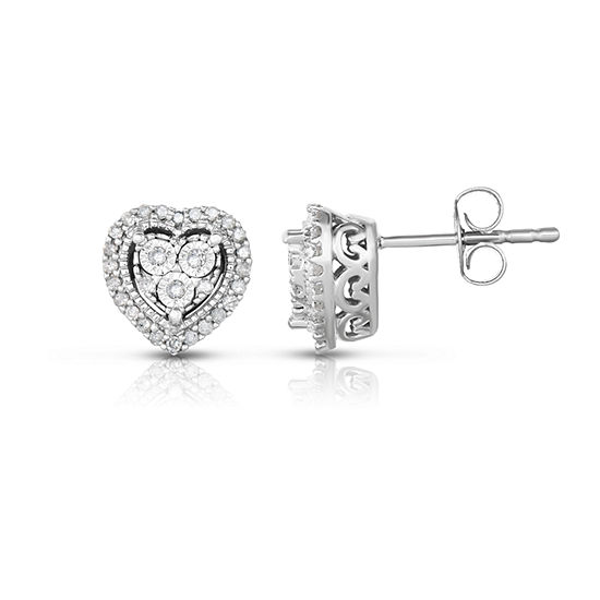 TruMiracle® 1/4 CT. T.W. Round Genuine Diamond Sterling Silver Stud Earrings