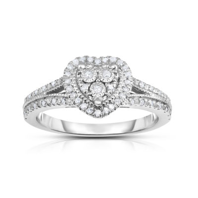 TruMiracle® Womens 1/4 CT. T.W. Genuine White Diamond Sterling Silver Cocktail Ring