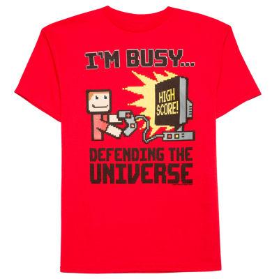 Boys Short Sleeve Oneliner Universe T-Shirt-Big Kid