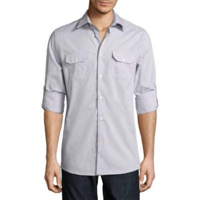 Claiborne Long Sleeve Checked Button-Front Shirt
