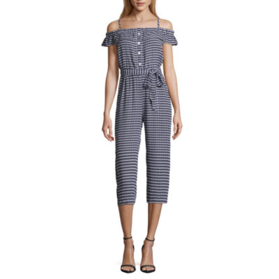 Almost Famous Sleeveless Belted Jumpsuit-Juniors