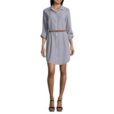 Almost Famous 3/4 Sleeve Shirt Dress-Juniors