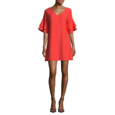 Heart N Soul Elbow Sleeve A-Line Dress-Juniors