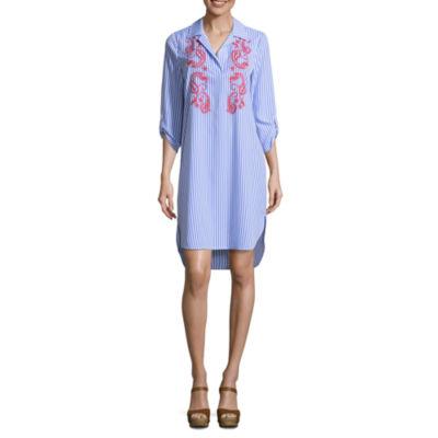 Spense 3/4 Sleeve Embroidered Shirt Dress