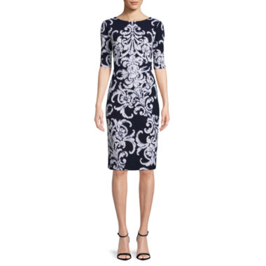 Connected Apparel Elbow Sleeve Scroll Sheath Dress