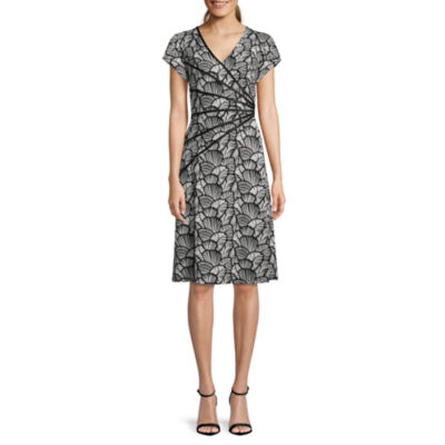 Connected Apparel Short Sleeve Floral Fit & Flare Dress