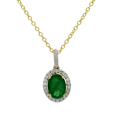 Womens 1/5 CT. T.W. Genuine Green Emerald 14K Gold Pendant Necklace