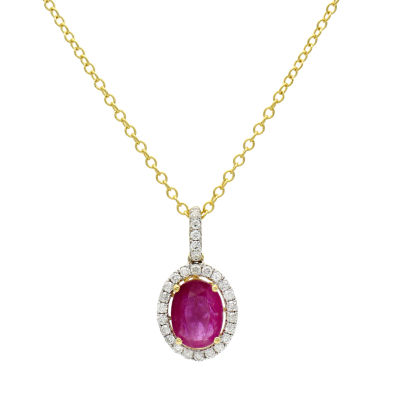 Womens 1/5 CT. T.W. Lead Glass-Filled Red Ruby 14K Gold Pendant Necklace
