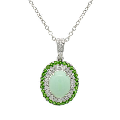 Womens 1/4 CT. T.W. Genuine Green Opal & Chrome Diopside Accent 14K White Gold Pendant Necklace