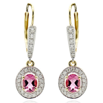 1/3 CT. T.W. Pink Tourmaline 14K Gold Drop Earrings