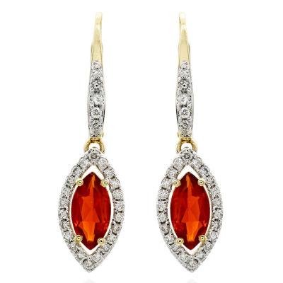 1/3 CT. T.W. Genuine Red Opal 14K Gold Drop Earrings