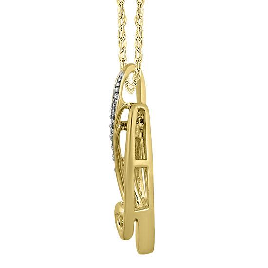 Womens 1/10 CT. T.W. Genuine White Diamond 10K Gold Pendant Necklace