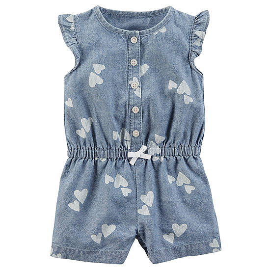 Infant Chambray Heart Romper