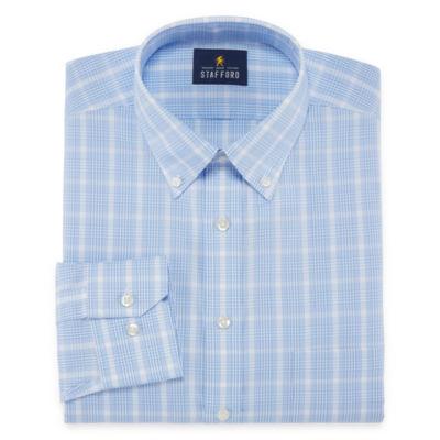 Stafford Executive Non-Iron Cotton Pinpoint Oxford Long Sleeve Checked Dress Shirt