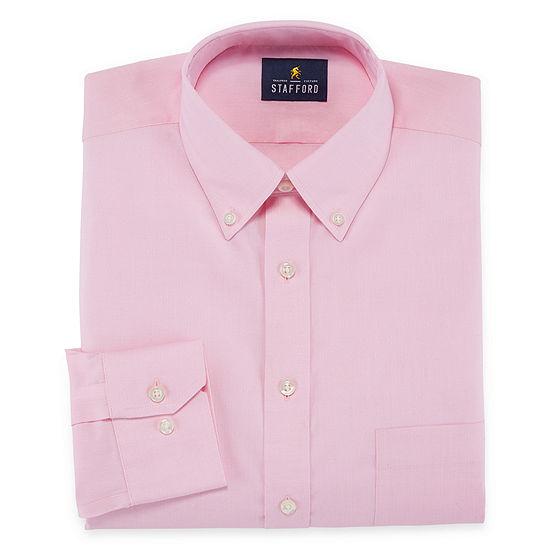 Stafford Executive Non-Iron Cotton Pinpoint Oxford Mens Button Down Collar Long Sleeve Dress Shirt