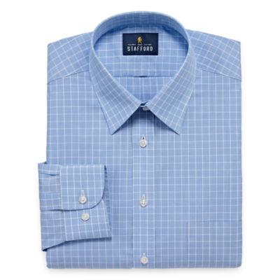Stafford Travel Performance  Super Shirt Long Sleeve Broadcloth Pattern Dress Shirt
