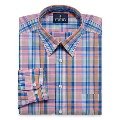 Stafford Travel Performance  Super Shirt Big And Tall Long Sleeve Broadcloth Plaid Dress Shirt