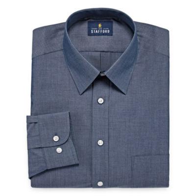Stafford Travel Performance  Super Shirt Big And Tall Long Sleeve Broadcloth Pattern Dress Shirt