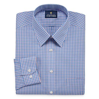 Stafford Travel Performance Super Long Sleeve Broadcloth Checked Dress Shirt - Big And Tall