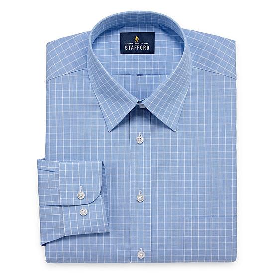 Stafford Travel Performance  Super Shirt Big And Tall Mens Point Collar Long Sleeve Wrinkle Free Dress Shirt